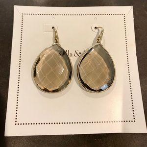 Stella & Dot Smokey Quartz Large drop earrings